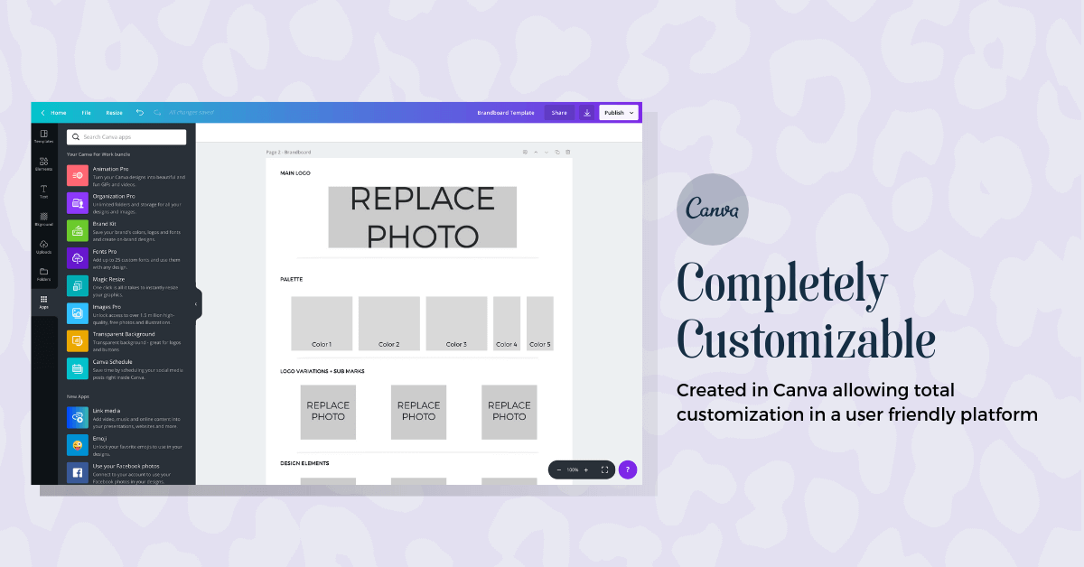 Template customizable in Canva